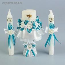 """Комплект свечей """"Семейный очаг+ 2 свечи для родителей"""" цветок бирюза"""