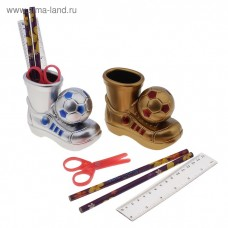 """Настольный набор детский """"Ботинок с мячом"""" из 5 предметов: подставка, ножницы, линейка, 2 карандаша, МИКС"""